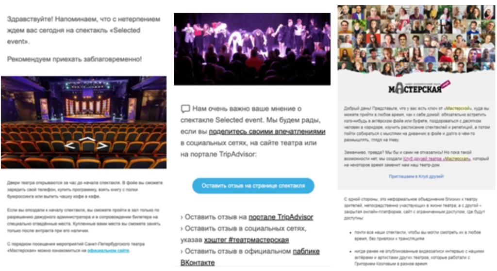 Примеры триггерных писем театра «Мастерская»